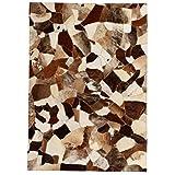 mewmewcat Teppich Echtes Leder Patchwork-Teppich Kuhleder Fellteppich 80 x 150 cm Braun und Weiß