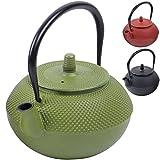 Deuba Teekessel Teekanne Gusseisen 1250 ml Grün Asiatische Teekanne • Japanischer Stil • inkl. Edelstahl Teesieb • mit praktischem Henkel