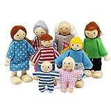 Wagoog Puppenhaus Puppenfamilie Set, Holz 8 Personen Figuren Puppen Spielset für Puppenhaus Zubehör Mädchen Kinder Kinder Spielzeug Geschenk