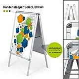 Hochwertiger Plakatständer DIN A1   ✓ Kundenstopper   ✓ Werbetafel   ✓ Gehwegaufsteller Select (mit Alu-Klemmrahmen) von Vispronet®