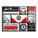 Nostalgic-Art VW Magnet-Set (9-tlg), Volkswagen - Bulli & Beetle - Meet The Classics, 8 x 9,3 x 2 cm