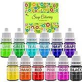 Seifenfarbe Set 12 Farben - Flüssig Seifenfarben Färbende für die DIY Seifenherstellung - Konzentriert Lebensmittelqualität Badebombe Farbe Pigment für Badebomben Kit, Bath Bomb, Kunsthandwerk