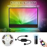 Zigbee Mini USB Controller 5V RGB CCT LED Strip Light Waterproof 2M TV Backlight Set Smart Controller App Controll