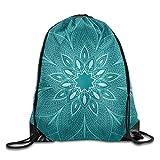 Etryrt Turnbeutel/Bedruckte Sportbeutel, Drawstring Backpack Unisex Gym Bag Beautiful Blue Mandala Flower Background Fence Print Drawstring Backpack Rucksack Shoulder Bags Gym Bag Sport Bag