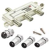 PremiumX 3-Fach Antennenverteiler 5-2400 MHz SAT TV Kabel UKW DAB BK Verteiler Digital Splitter + 1x IEC Buchse F-Stecker Adapter + 3X IEC Stecker auf F-Stecker Adapter