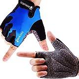 boildeg Fahrradhandschuhe Radsporthandschuhe rutschfeste und stoßdämpfende Mountainbike Handschuhe mit Signalfarbe geeiget Unisex Herren Damen (Blau, M)