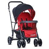 Joovy Caboose Graphit Kinderwagen, Doppel-Kinderwagen, Sitz- und Steh-Kinderwagen, Eingebauter Buggy Board-Kinderwagen, rot