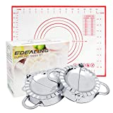 OWUDE 2 Stück 9,5 cm Knödelmaschine und Bonus-Teigmatte, Edelstahl-Knödelform-Set Empanada-Presse für Kuchen-Ravioli-Pierogi-Wrapper