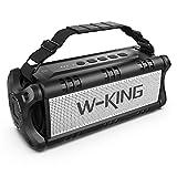 W-KING 50W Bluetooth Lautsprecher Wasserdicht, 24 Stunden Laufzeit, 8000mAh Power Bank, 30 Meter Reichweite, Tragbare Bluetooth Speaker Box Lautsprecher Musikbox mit TWS/NFC (Schwarz)