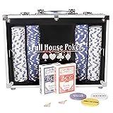 CCLIFE 300 500 PCS Pokerset Profi Pokerspiel inkl. Pokerkoffer Pokerdecks Dealer Button Poker Set Pokerchips Tischauflage Spielmatte, Größe:500 Chips