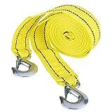 Qiilu Abschleppseil Auto, 4 Meter Last 5 Ton Nylon Car Trailer Abschlepp Seil Gurt Tow Kabel mit Haken Notfall Fahrzeug Werkzeug mit 2 Haken und Aufbewahrungstasche(Gelb)