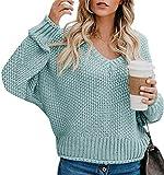 Yidarton Pullover Damen Casual Elegant Strickpullover Grobstrickpullover Sweatshirts Pulli V-Ausschnitt Langarm Lose Winter (10-blau, M)