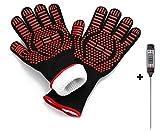 Grillhandschuhe Ofenhandschuh Hitzebeständige Handschuhe bis zu 800°C Backhandschuhe Topfhandschuhe langer Unterarmschutz für Grill & Küche inkl. Fleisch-/Grillthermometer Digital Babyernährung