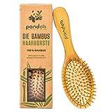 pandoo Bambus Haarbürste mit Naturborsten - Vegan, umweltfreundlich - Natur-Bürste mit Bambusborsten für natürlich schöne Haare für Männer, Frauen & Kinder - Detangler