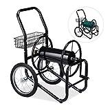 Relaxdays Schlauchwagen, fahrbare Schlauchtrommel, 1/2' & 3/4' Anschluss, bis 90 m Schlauch, 2 Räder, Metall, schwarz