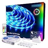 LED Strip RGB 5m LED Licht Streifen SMD 5050 Leds mit Netzteil, Fernbedienung Led stripes Lichtband Leiste Band Beleuchtung,MEHRWEG