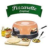 Emerio Pizzaofen, PIZZARETTE das Original, handgemachte Terracotta Tonhaube, patentiertes Design, für Mini-Pizza, echter Familien-Spaß für 4 Personen, PO-115847