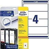 AVERY Zweckform L6061-10 Ordnerrücken Etiketten (mit ultragrip, 59 x 192 mm auf DIN A4, breit/kurz, selbstklebend, blickdicht, bedruckbare Ordneretiketten, 40 Rückenschilder auf 10 Blatt) weiß