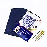 100 Blatt blaues Kohle Transferpapier Graphitpapier mit Prägestift-Set und Druckbleistift für Holz, Papier, Segeltuch etc. von Raimarket | Premium Quality Carbon Paper