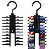 MINGZE 2 Stück Krawattenhalter, Krawattenbügel Schwarz 20 Krawatte Gürtel Gestell Veranstalter Aufhänger Rutschfest Clips 360-Grad-Drehung