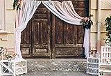 Cassisy 3x2m Vinyl Hochzeit Fotohintergrund Rustikal Hölzerne Scheunentüren Shabby Chic Luxusarrangements Fotoleinwand Hintergrund für Fotoshoot Fotostudio Requisiten Party Liebhaber Photo Booth