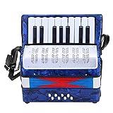 Dilwe Akkordeon, Mini Kleine 17 Tasten 8 Bass Akkordeon Pädagogisches Musikinstrument Spielzeug für Anfänger Kinder Bildung(Blau)