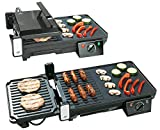Rosenstein & Söhne Balkon Grill: Elektrischer 2in1-Tischgrill mit Kontaktgrill, Grillplatte, 2.000 Watt (Eletrogrill)