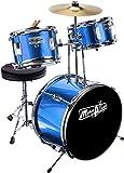 Musik Alley 3 Stück Junior-Drum-Kit für Kinder mit Becken Pedal Drumhocker und Drum-Sticks metallic blau
