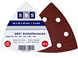 SBS Klett-Schleifdreiecke | 93x93x93 mm | 180 Stück | 6 Loch | Körnung je 30 x 40/60/80/120/180/240 | für Delta-Schleifer