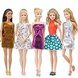 E-TING 5pcs Fashion Minikleid handgefertigte Kurze Kleid für Barbie Puppen (5pc Kleid)