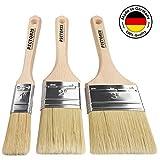 PICTORIS Lasurpinsel Set PREMIUM | 100% Made in Germany | 3 handgefertigte Malerpinsel für Profis | Kunstfaser-Naturborsten-Mix für ein perfektes Lasurergebnis | Kein Borstenverlust