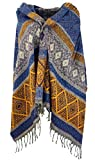Guru-Shop Weicher Pashmina Schal/Stola, Schultertuch, Plaid, Herren/Damen, Inka Muster Flieder/gelb, Synthetisch, Size:One Size, 200x90 cm, Schals Alternative Bekleidung