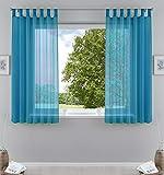 2er-Pack Gardinen Transparent Vorhang Set Wohnzimmer Voile Schlaufenschal mit Bleibandabschluß HxB 175x140 cm Türkis, 61000CN