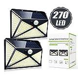 Solarlampen für Außen, [2 Stück, 2000mAh]270 LED Solarleuchte mit Bewegungsmelder, 4 Beleuchtungsmodi und IP65 Wasserdicht Wandleuchte Aussenleuchte Garten