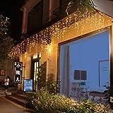 LED Lichtervorhang Eisregen Lichterkette 8 Modi Wasserdicht IP44 Innen Außen Mond Sterne Vorhang Lichter Für Weihnachten, Party, Hochzeit, Garten, Balkon Deko (5m, 200 LED Eisregen)