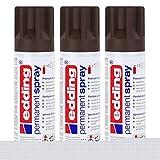 edding Permanent Spray Premium-Acryllack schokoladenbraun 200ml RAL 8017 – seidenmatt – Sprühlack deckt sofort,trocknet extrem schnell und hält dauerhaft innen & außen,für Glas, Metall uvm. (3er Pack