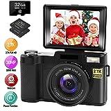 Digitalkamera Fotoapparat Digitalkamera 30MP 2.7K Full HD Kompaktkamera mit 180-Grad-Flip-Screen mit 32 GB Speicherkarte 2 Batterien