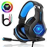 Beexcellent Gaming Headset für PC PS4 Xbox One, 7 Farbe RGB-LED Licht, Surround Sound Gaming Kopfhörer mit Mikrofon für Laptop Mac Handy Tablet