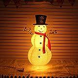 SJTL Schneemann Figur Weihnachten Weihnachtsmann für außen Garten 40/60/120cm mit LED beleuchtet Weihnachtsschmuck Weihnachtsdekorationen Weihnachtsbaum Dekoration,1.2m Snowman A