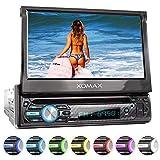 XOMAX XM-D750 Autoradio mit 18 cm / 7' Touchscreen I DVD, CD, USB, AUX I RDS I Bluetooth I Anschlüsse für Rückfahrkamera, Lenkradfernbedienung und Subwoofer I 1 DIN