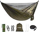 Braoses Hängematte Ultraleichte Camping Hängematte mit Moskito Netz, 290 x 140cm Outdoor Camping Hammock, 300kg Tragkraft, Atmungsaktiv Fallschirm Nylon Tragbare Hängematte mit Premium Karabinern