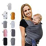 Fastique Kids® Tragetuch - elastisches Babytragetuch für Früh- und Neugeborene inkl. Baby Wrap Carrier Anleitung - Farbe grau