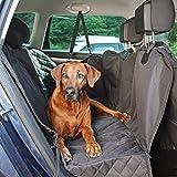 WOMA Hundedecke Auto Rückbank + Sicherheitsgurt für die sichere und saubere Autofahrt - 137x147cm - rutschfeste & wasserdichte Autoschondecke Hund Rücksitz mit Seitenschutz - Universell einsetzbar