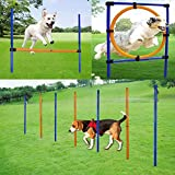 MelkTemn HundenHindernis-Agility-Ausrüstung Set, verstellbar, Agility-Trainingsgerät für Hunde mit Agility-Hürde, Slalom-Stangen und Springreifen für Hunde im Freien, Übung