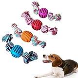 Hundespielzeug Seil, 4pcs Spielseil für Hunde, Hergestellt aus Natürlicher Baumwolle Robust Besser, Interaktives Kauspielzeug Spielzeug Doppel-Spieltau, Vorteilhaft für die Zahnreinigung des Hundes