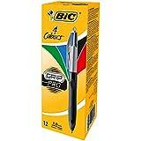 BIC 4 Colours Grip Pro, 12er Kugelschreiber-Set, 4-Farb-Druckkugelschreiber, Rot, Blau, Schwarz und Grün