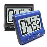 Senhai Küchen-Timer mit Ständer/Clip, digital, magnetisch, großes LCD-Display, mit lautem Alarmring, Countdown bis zu 99 Minuten 59 Sekunden, Schwarz/Blau