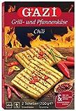 Gazi Grill- und Pfannenkäse Chili - 3x 200gramm - Pfanne Grill Grillkäse Ofen Ofenkäse Backkäse 45% Fett i. Tr. Schnittkäse Käse mikrobielles Lab Halal vegetarisch glutenfrei für Grill und Pfanne