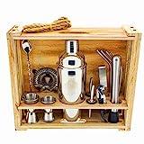 DIIBRA Cocktail-Wizard 2.0 – Cocktailshaker - Geschenk für Männer - 15-teiliges Bar Werkzeug Set mit rustikalem Holzständer - Perfektes Bartender Set und Cocktail Shaker Set für traumhafte Mixgetränke