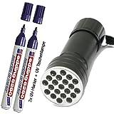 Edding 8280 UV-Marker Set (2 x UV-Marker + 1 x UV-Lampe mit 21 LED)